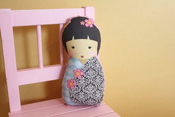 stuffed Doll Kokeshi by PETUNIAS  pillow  japanese by PETUNIAS