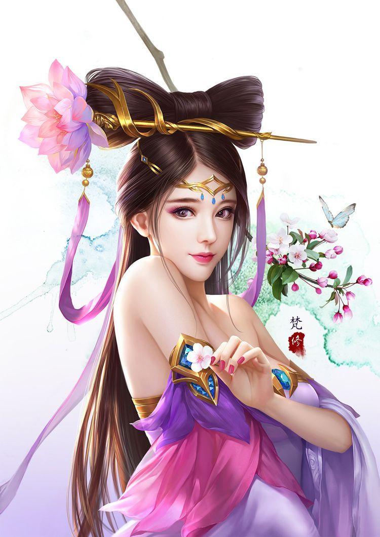 King of glory diao chan art by fan xiu illustration game beautiful fantasy art art girl - Seven knights diaochan ...