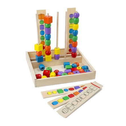 Melissa Doug Bead Sequencing Set With 46 Wooden Beads And 5 Double