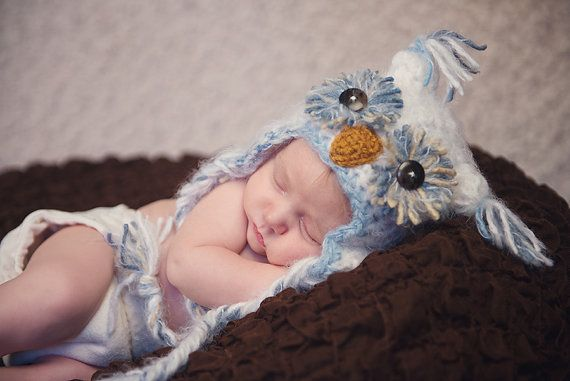 Baby Boy Owl Hat Newborn 0 3m 6m Fuzzy Owl White Blue Crochet Photo