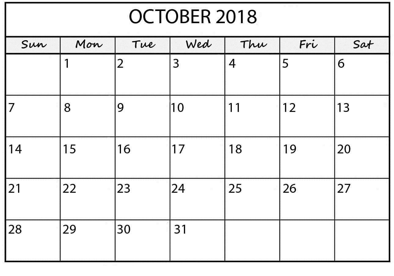October 2018 Calendar Template Word October 2018 Calendar