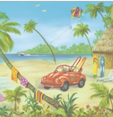 Details about Sea shore beach VW bug kite hut airplane