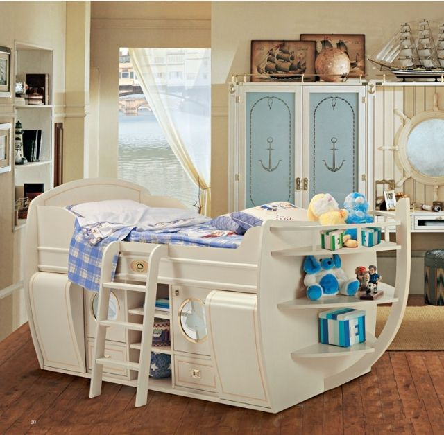jungenzimmer kinderbett hochbett schiff form holz stauraum. Black Bedroom Furniture Sets. Home Design Ideas
