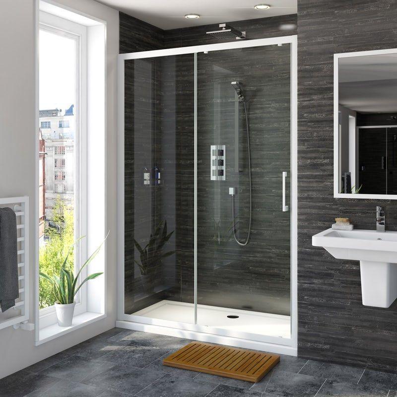 Mode 8mm Matt White Framed Sliding Shower Door 1200mm In 2020