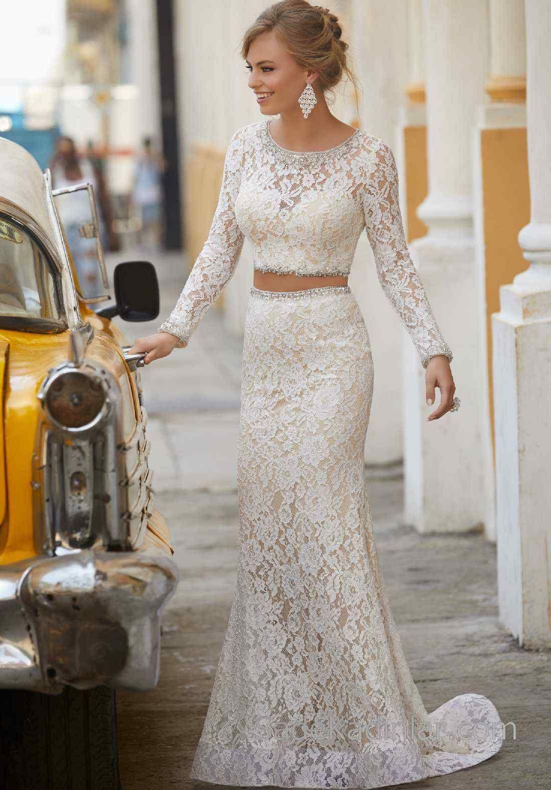 2020 Abiye Ve Gece Elbiseleri Krem Uzun Yuvarlak Yaka Uzun Kollu Dantel Kumas Balo Elbiseleri The Dress Resmi Elbise