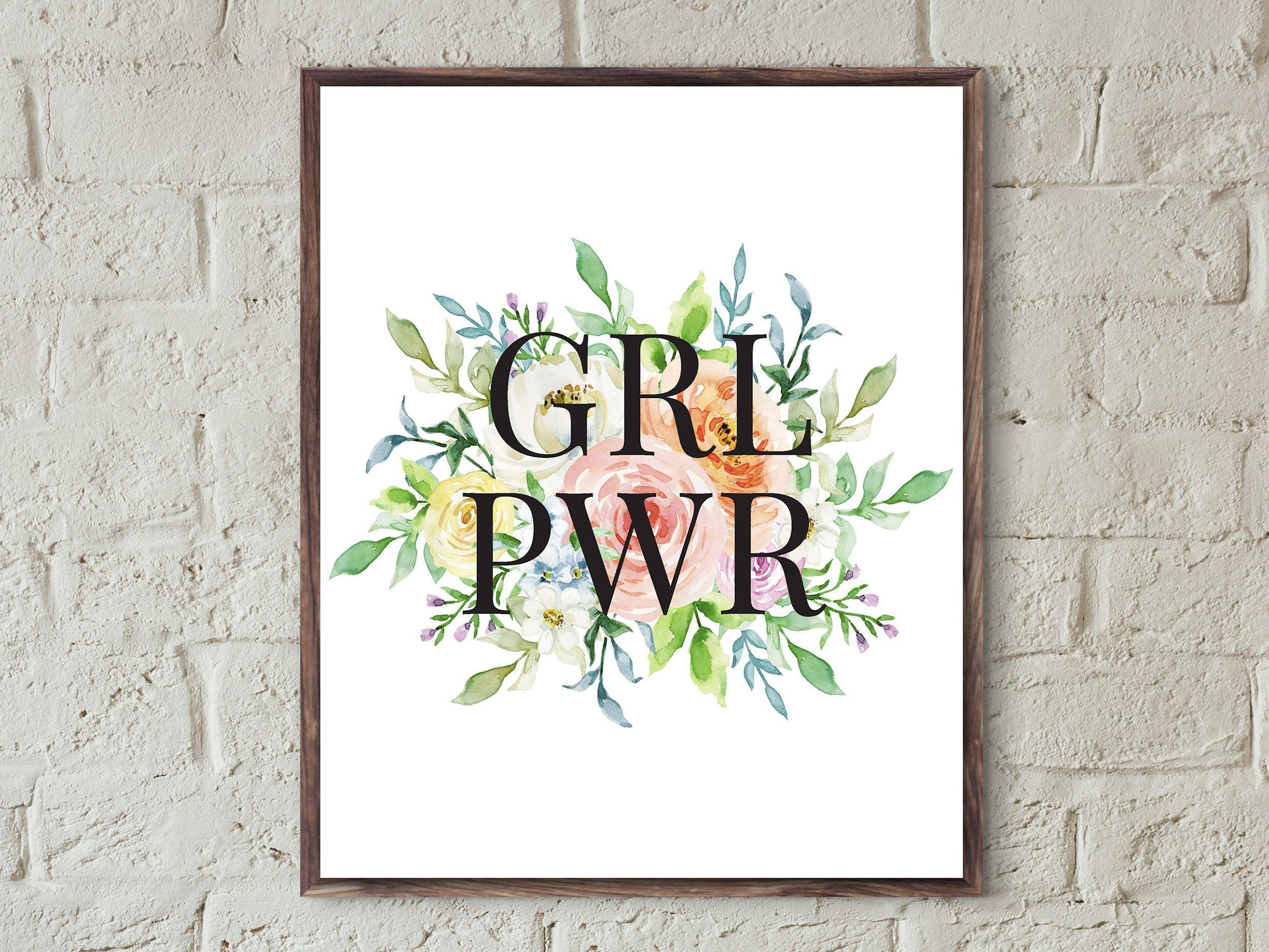 7c6cb22558 grl pwr print feminist poster printable girls room decor teen girl ...