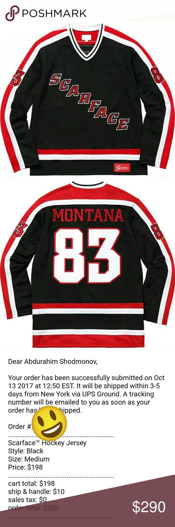 98c7e1f8870b Supreme Scarface Hockey Jersey medium Brand new in hand Supreme Scarface  Hockey Jersey Black Red Size Medium, Confirmed! Supreme Sweaters Cardigan