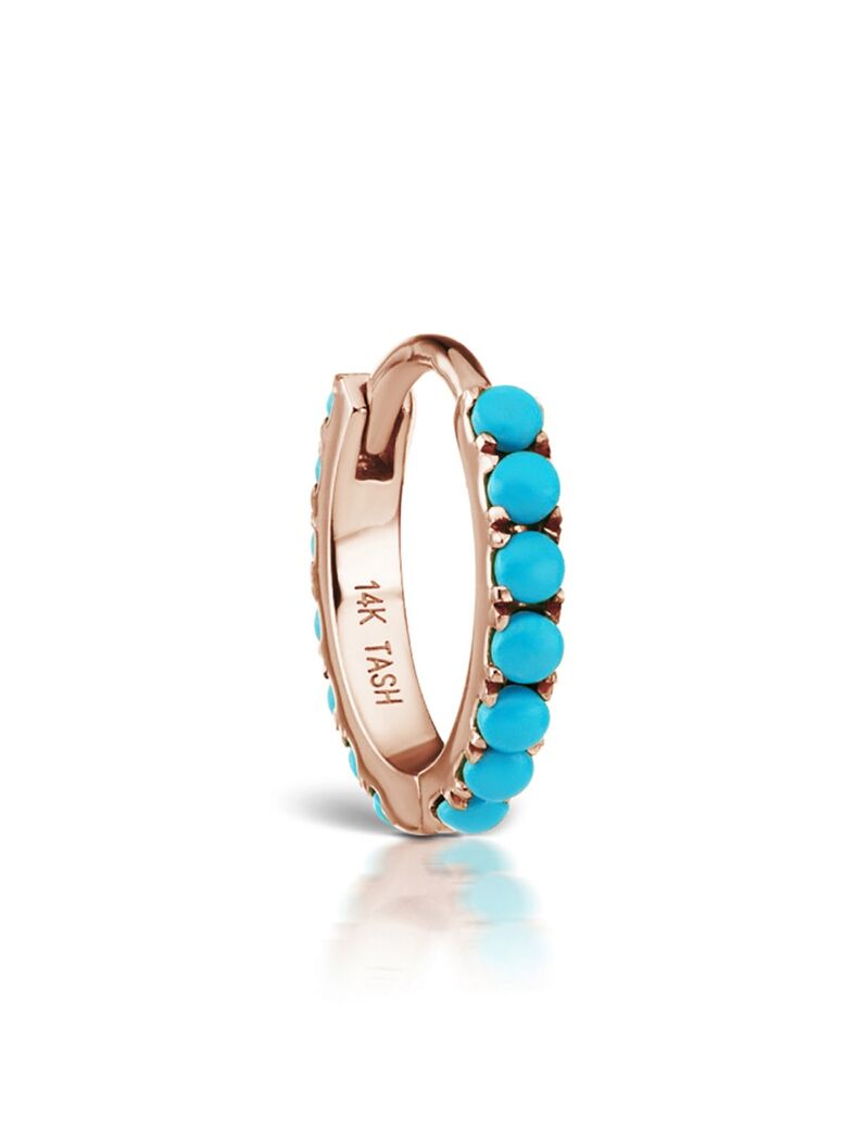Turquoise Eternity Ring Single Earring Rose Gold Maria tash