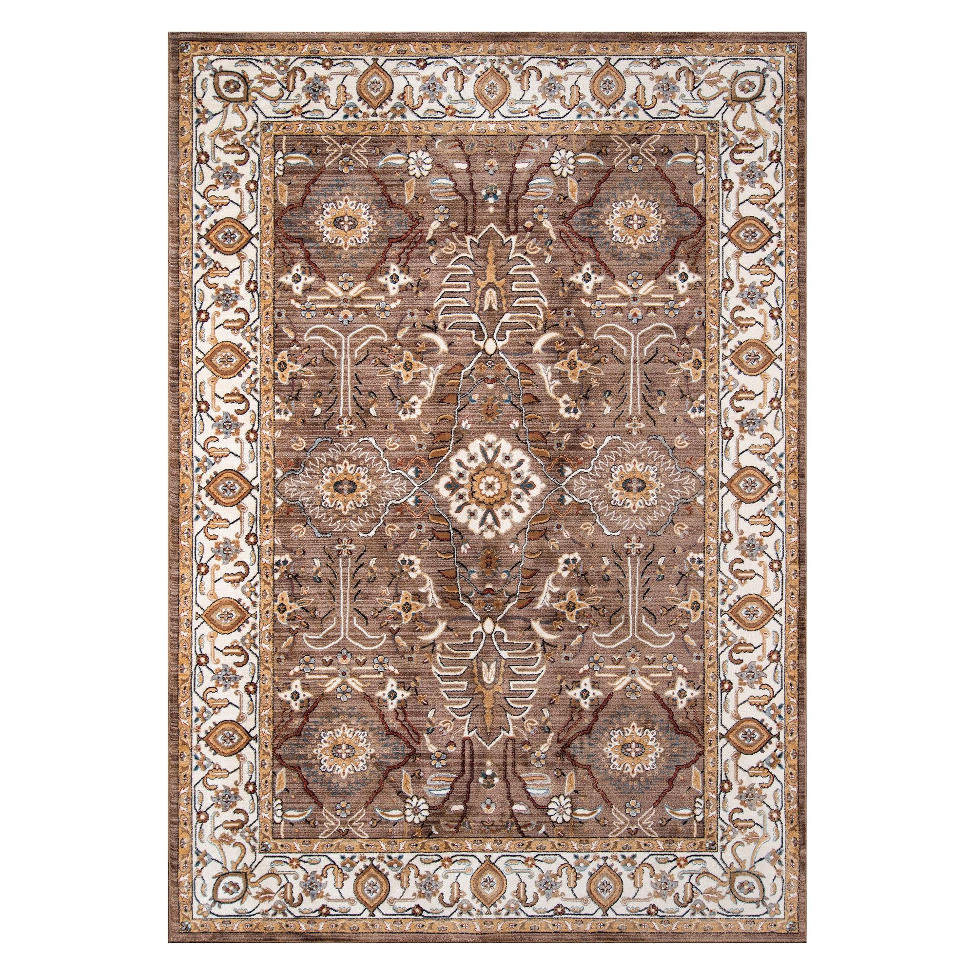 3 3 X5 1 Floral Loomed Accent Rug Brown Momeni Adult Unisex