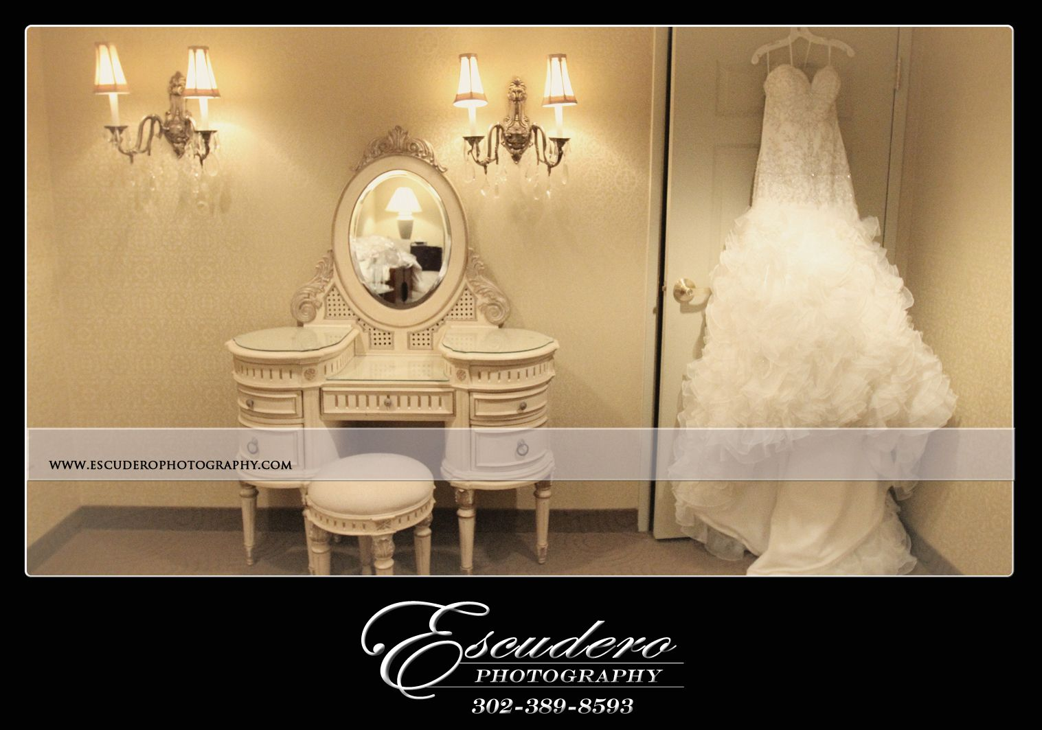 A stunning dress in an elegant room. Don't forget to have this picture taken on your special day!