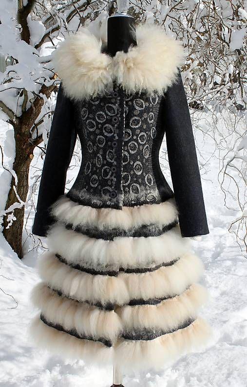 Plstený kabát z vlny a alpaky   talsi - SAShE.sk - Handmade Kabáty 5cd214e4bea