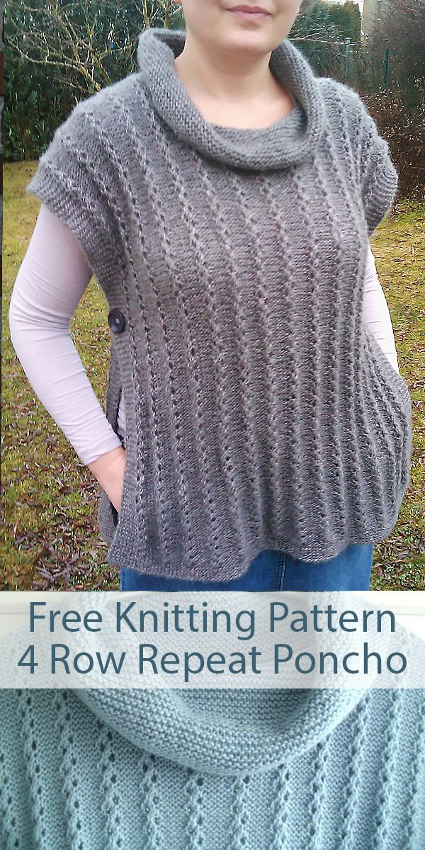 Free Knitting Pattern for cowl neck pullover poncho with ...