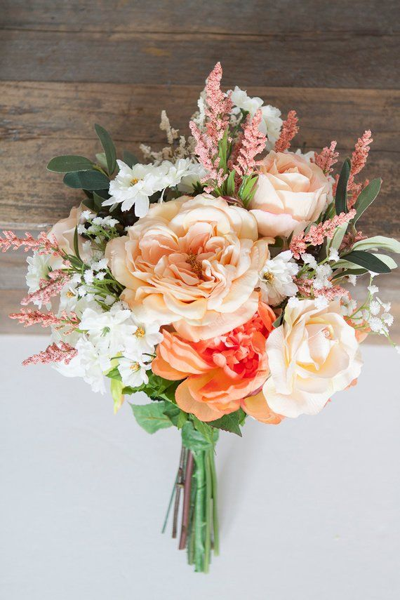 Peach Bouquet Peach Bridal Bouquet Orange Bouquet Bouquet