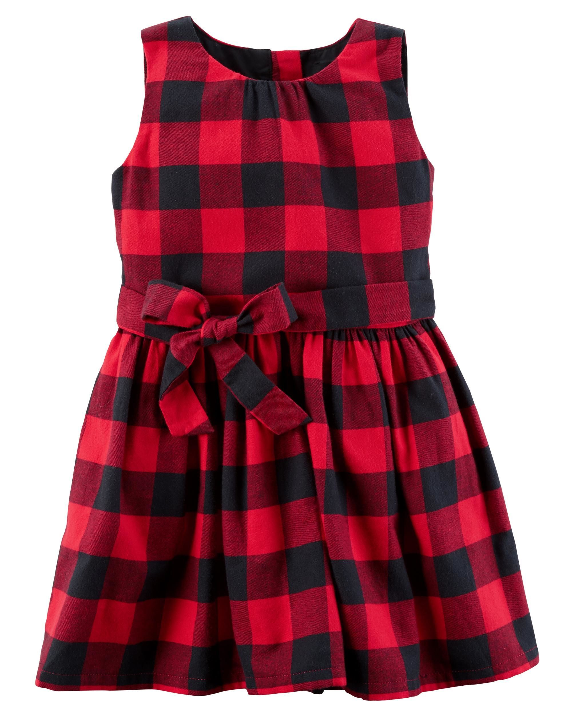 abcfc95187c Toddler Girl Buffalo Check Flannel Dress