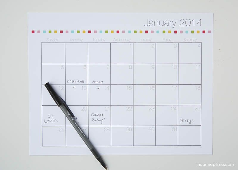 Free Printable 2014 Calendar I Heart Nap Time I Heart Nap Time