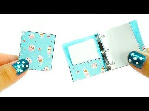 miniature dollhouse school binder - really works tutorial - school supplies l Dollhouse DIY