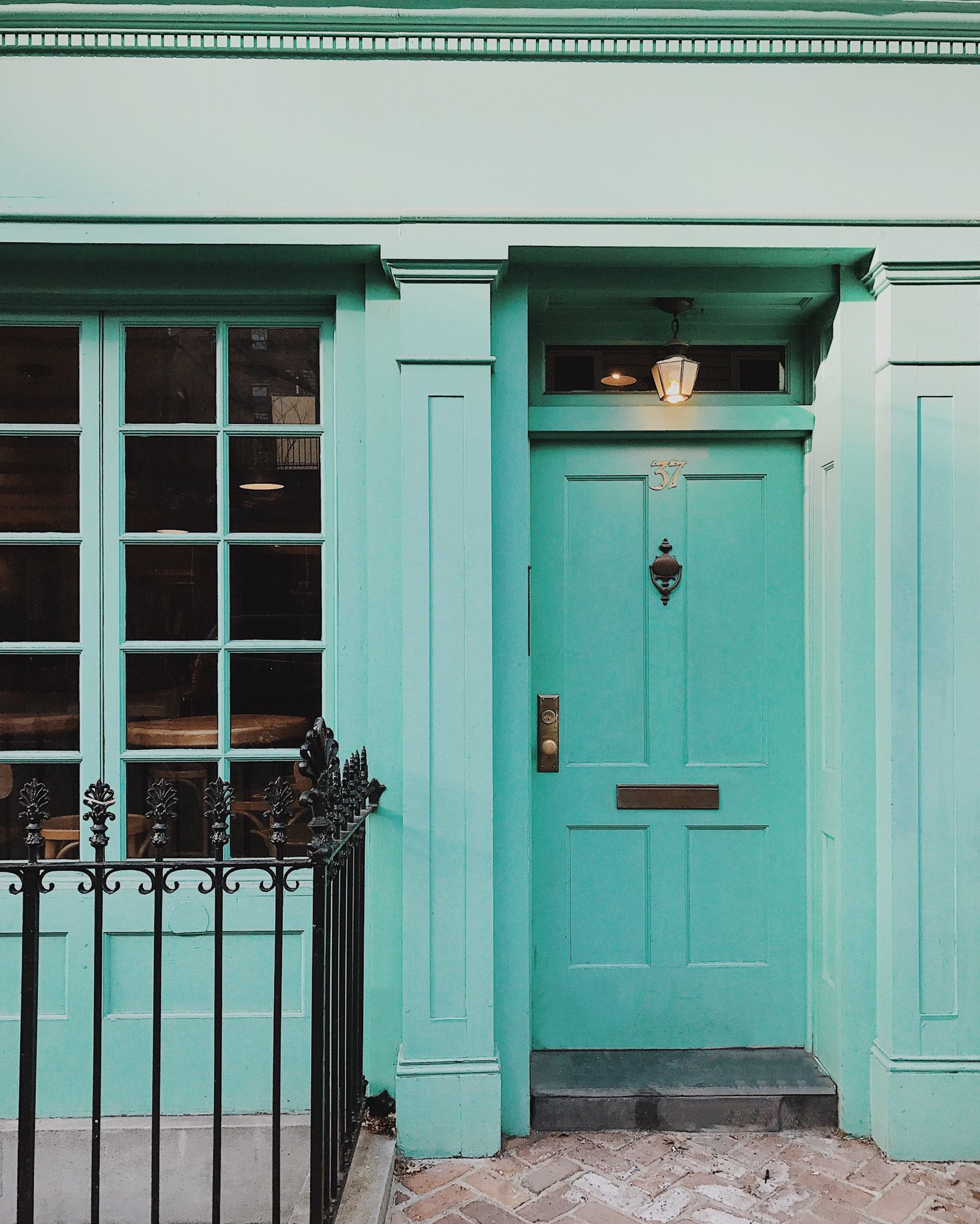 This Front Door Looks Like It Could Be In London But Is Actually Brooklyn The Gorgeous Blue Green Hue On A Made Me Smile As I My Way