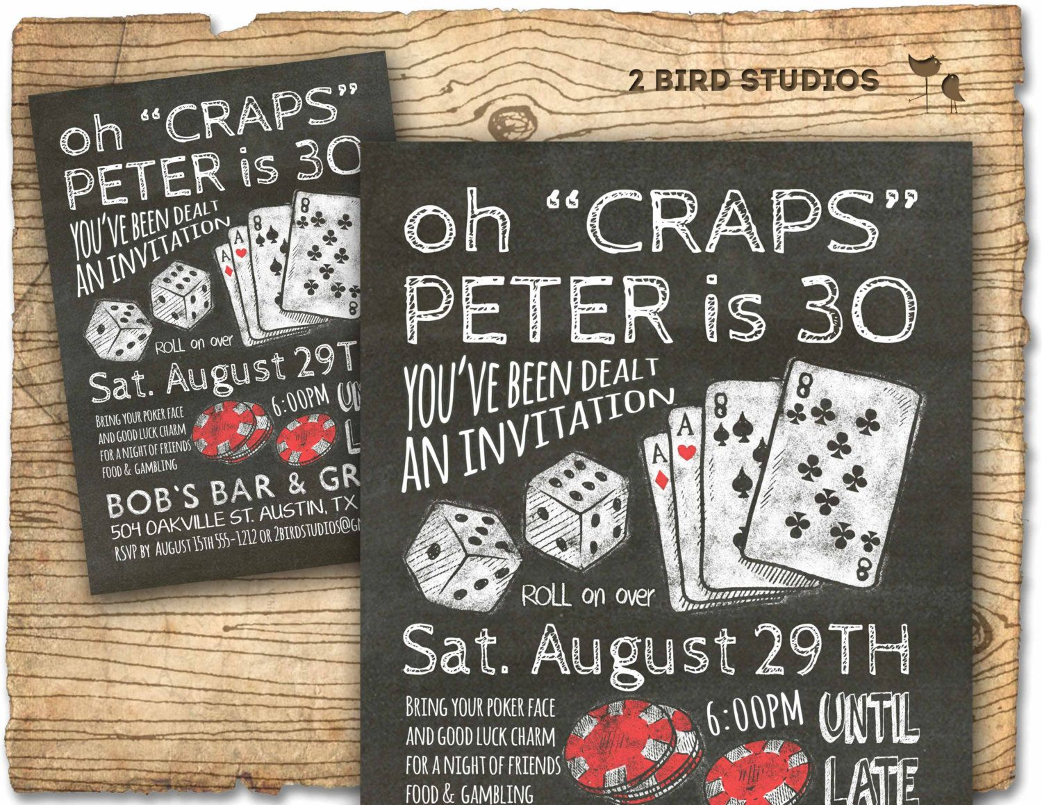 casino invitation for poker party birthday - 30th birthday or 40th, Party invitations