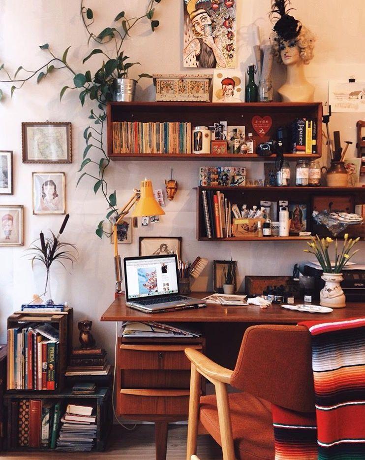 Bohemian Office, Bohemian Studio, Small Office Desk, Office Setup, Office  Nook,