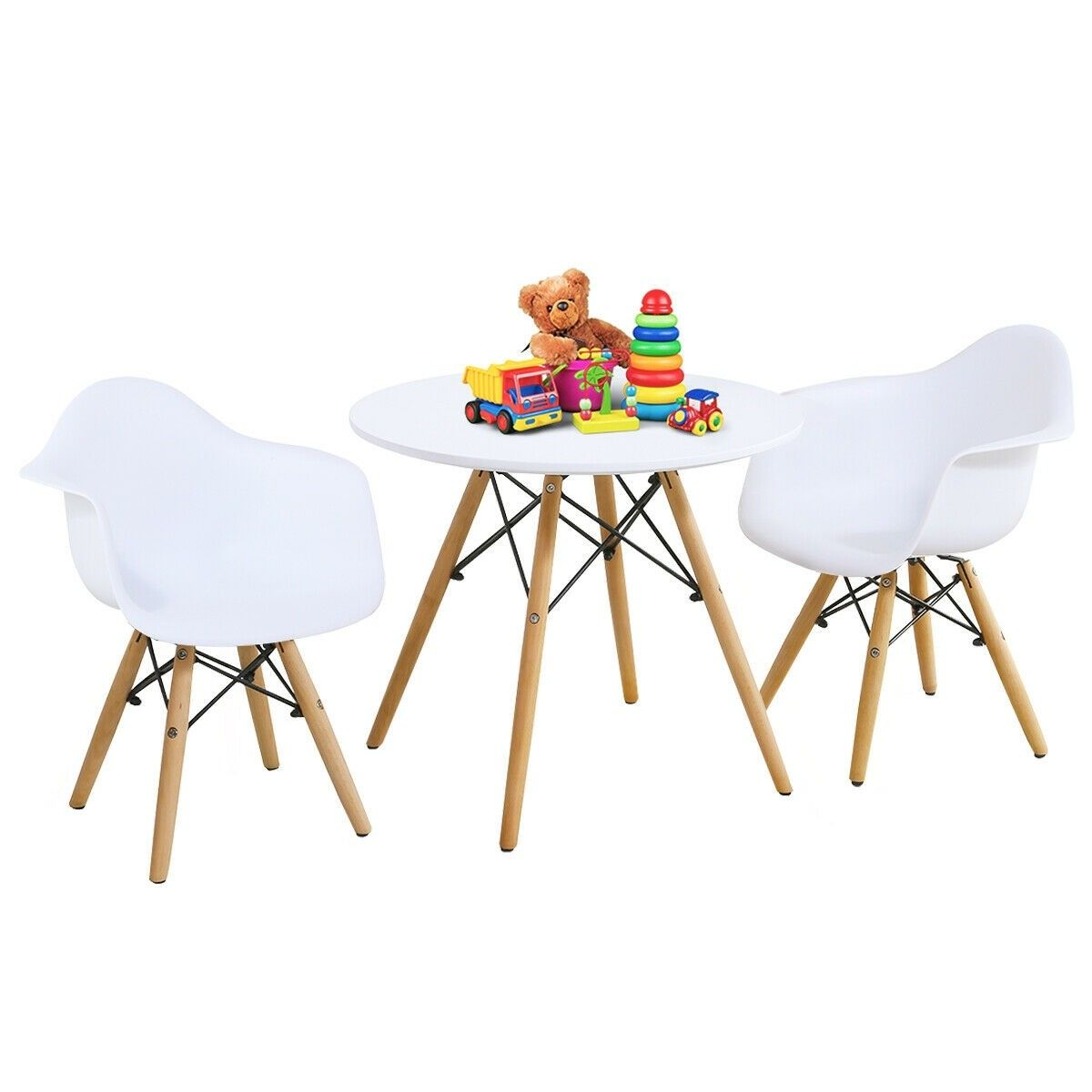 3 Piece Kids Modern Round Table Chair Set Table Chairs Desk Chair Set Kids Table Chairs
