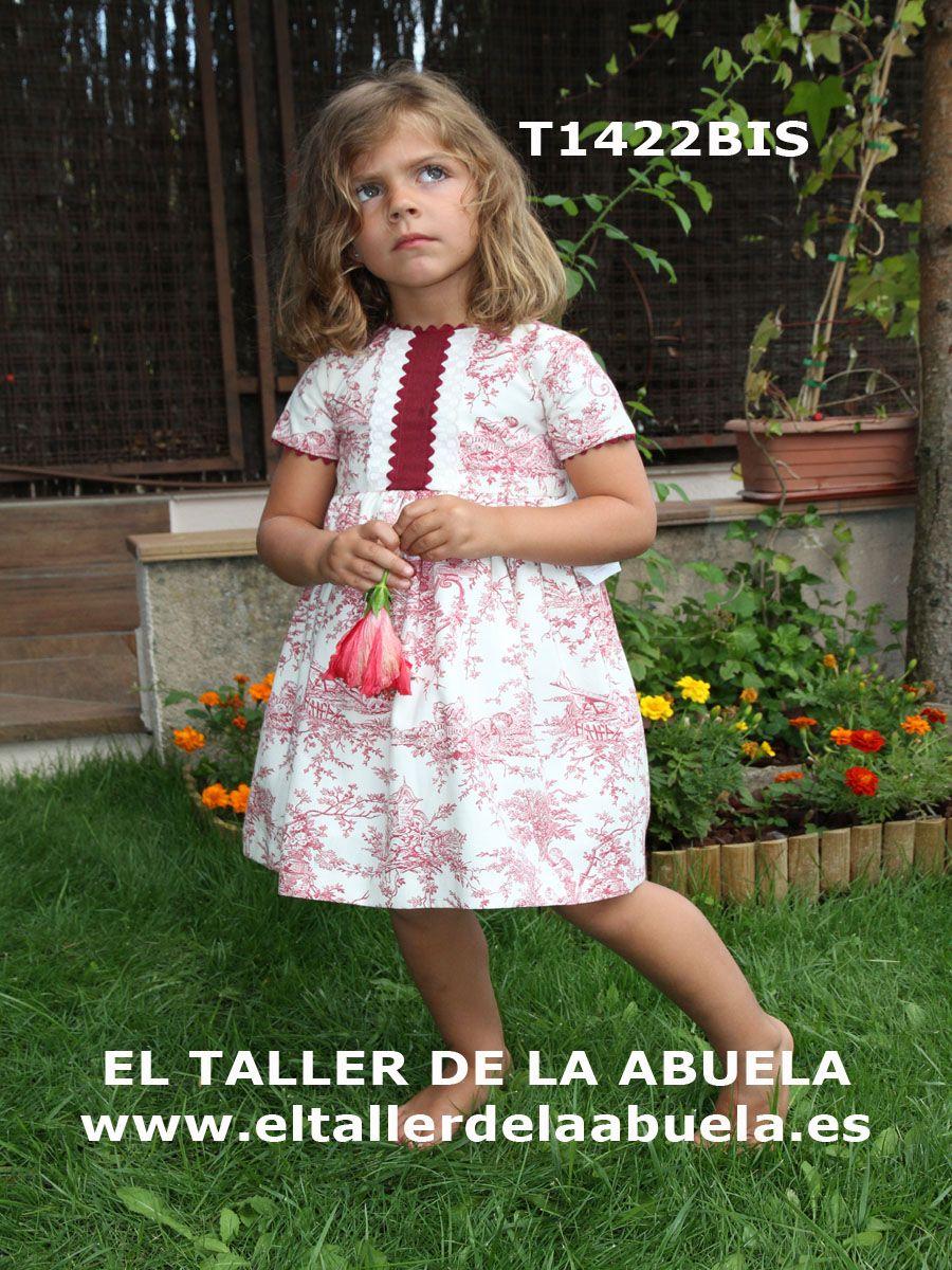 Ropa de niños - Vestido corte ceremonia en toile burdeos. Se fabrica en 5 colores, de la colección de El Taller de la Abuela