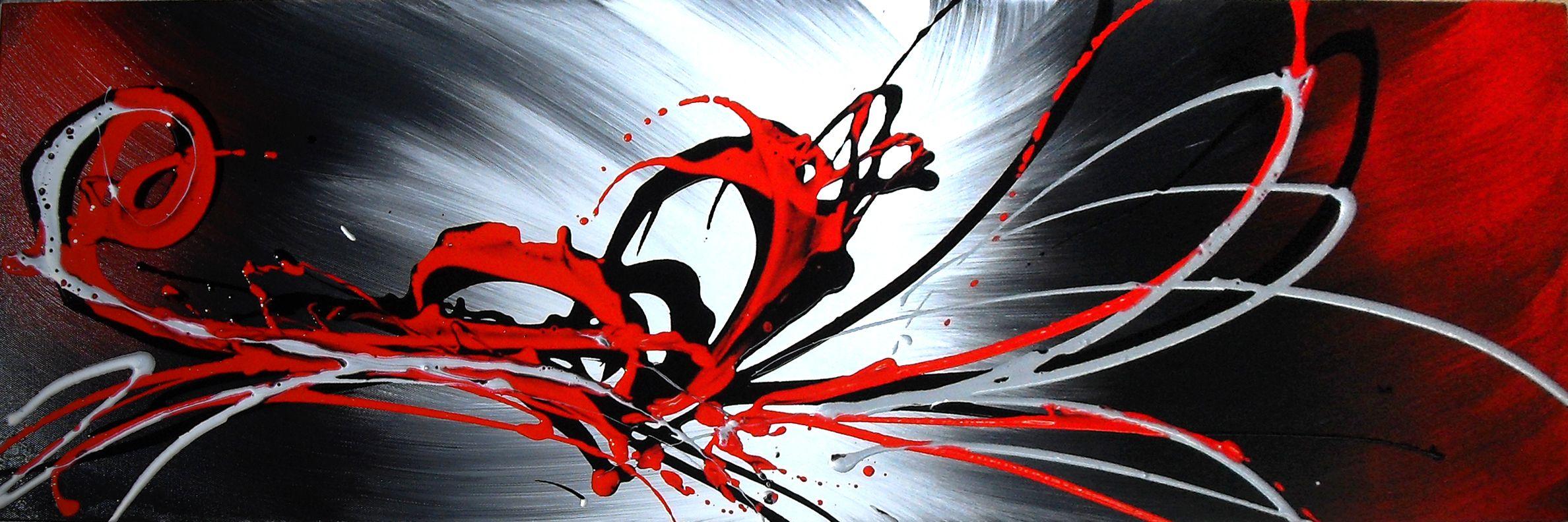 Tableau Panoramique Gris Rouge Noir Peinture Abstraite. Tableau Toile  Panoramique Peint Pour Salon Ou Chambre