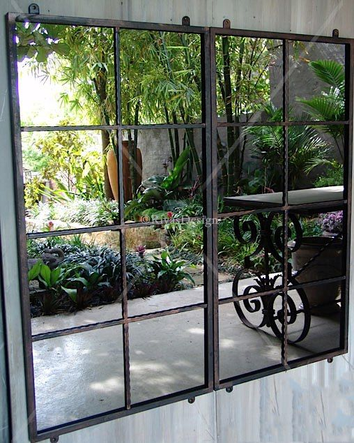 Fascinating garden mirrors ideas garden mirrors squares for Outdoor mirror ideas