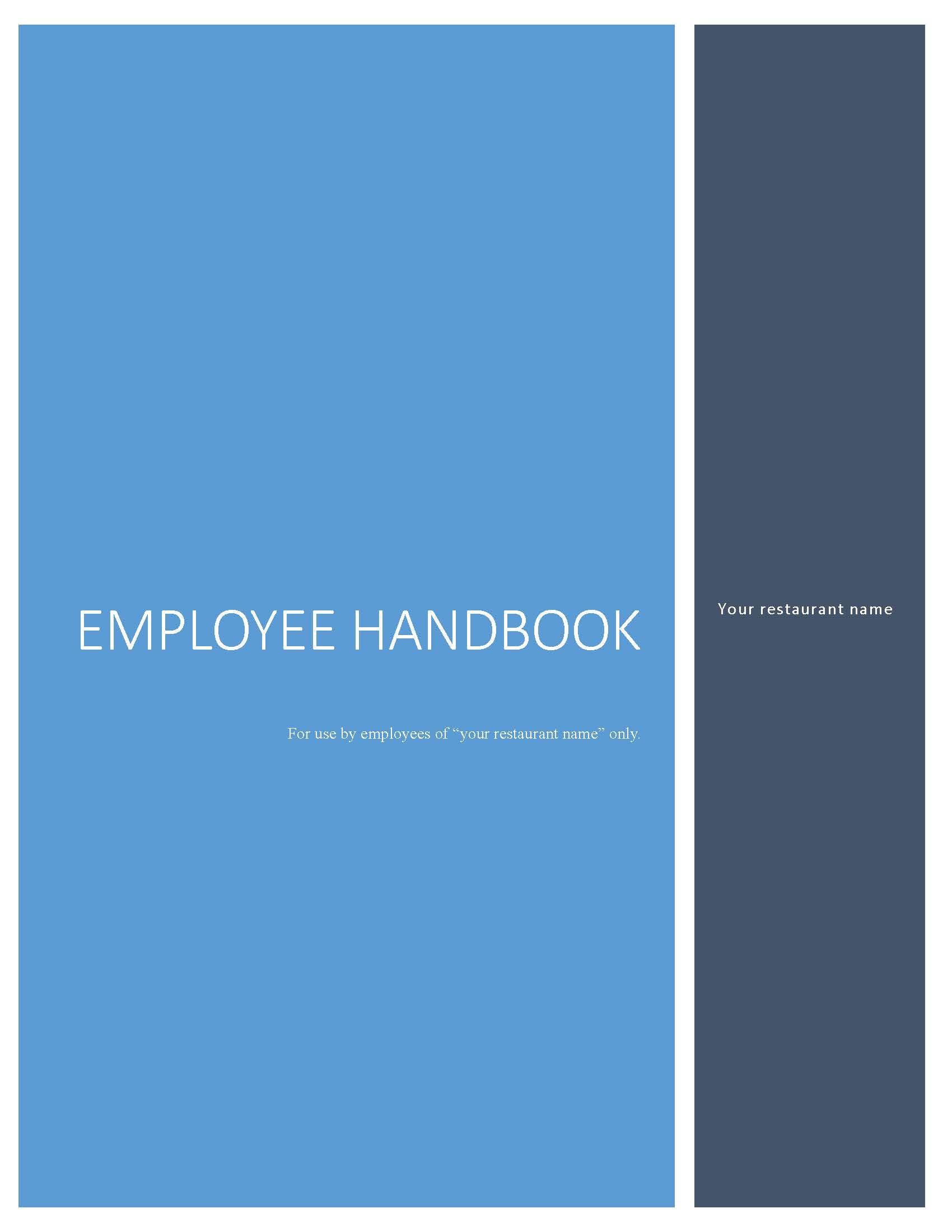 Restaurant Handbook Table Of Contents Restaurant Management Employee Handbook Restaurant