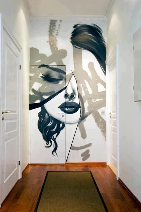 Tape Art Face Accent Wall In Hallway Abstract Wall Painting Creative Wall Painting Wall Painting