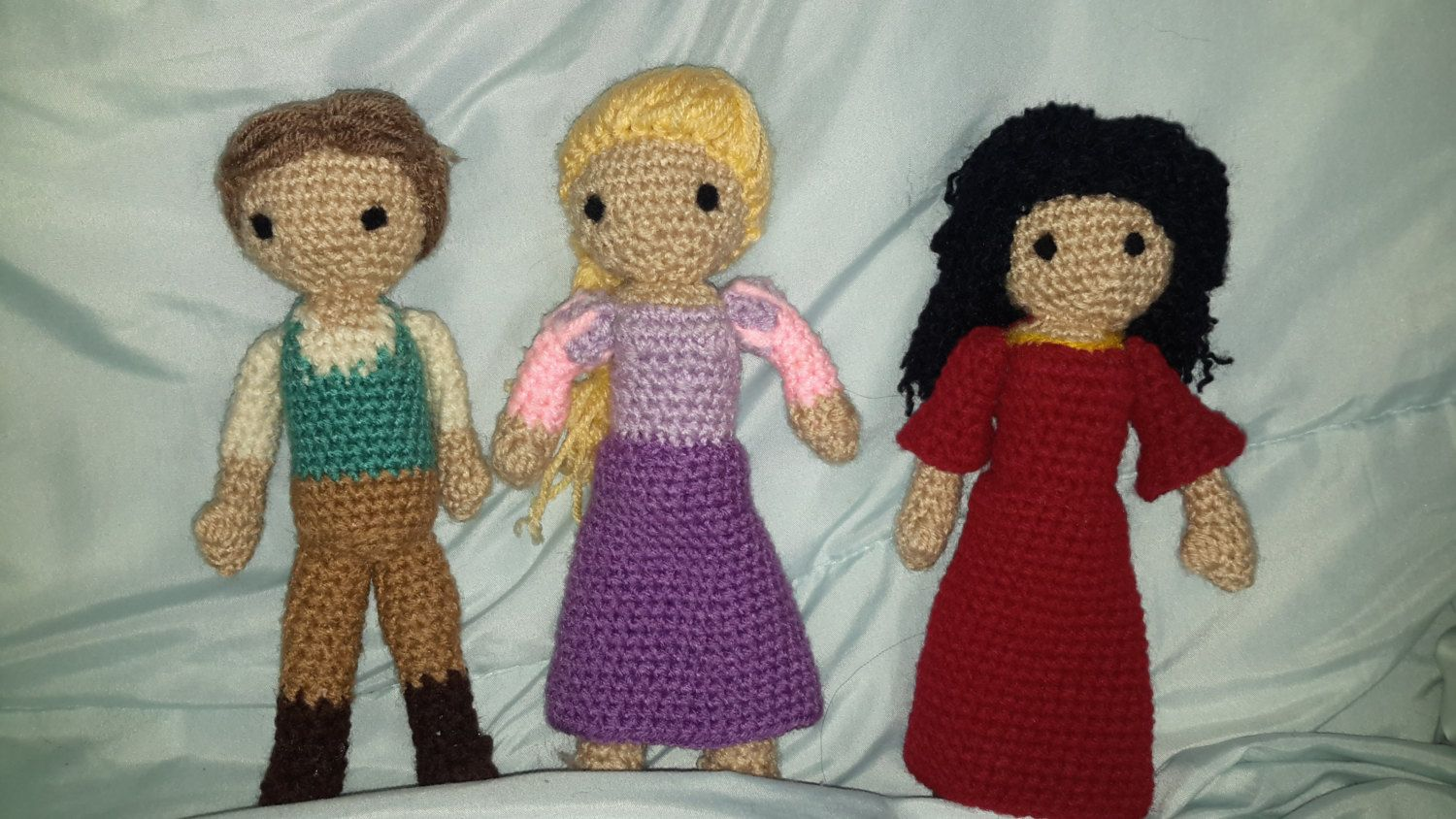 "Crochet Tangled inspired Rapunzel, Flynn Rider ,  Mother Gothel  doll  9"" by ILoveYouGifts on Etsy"