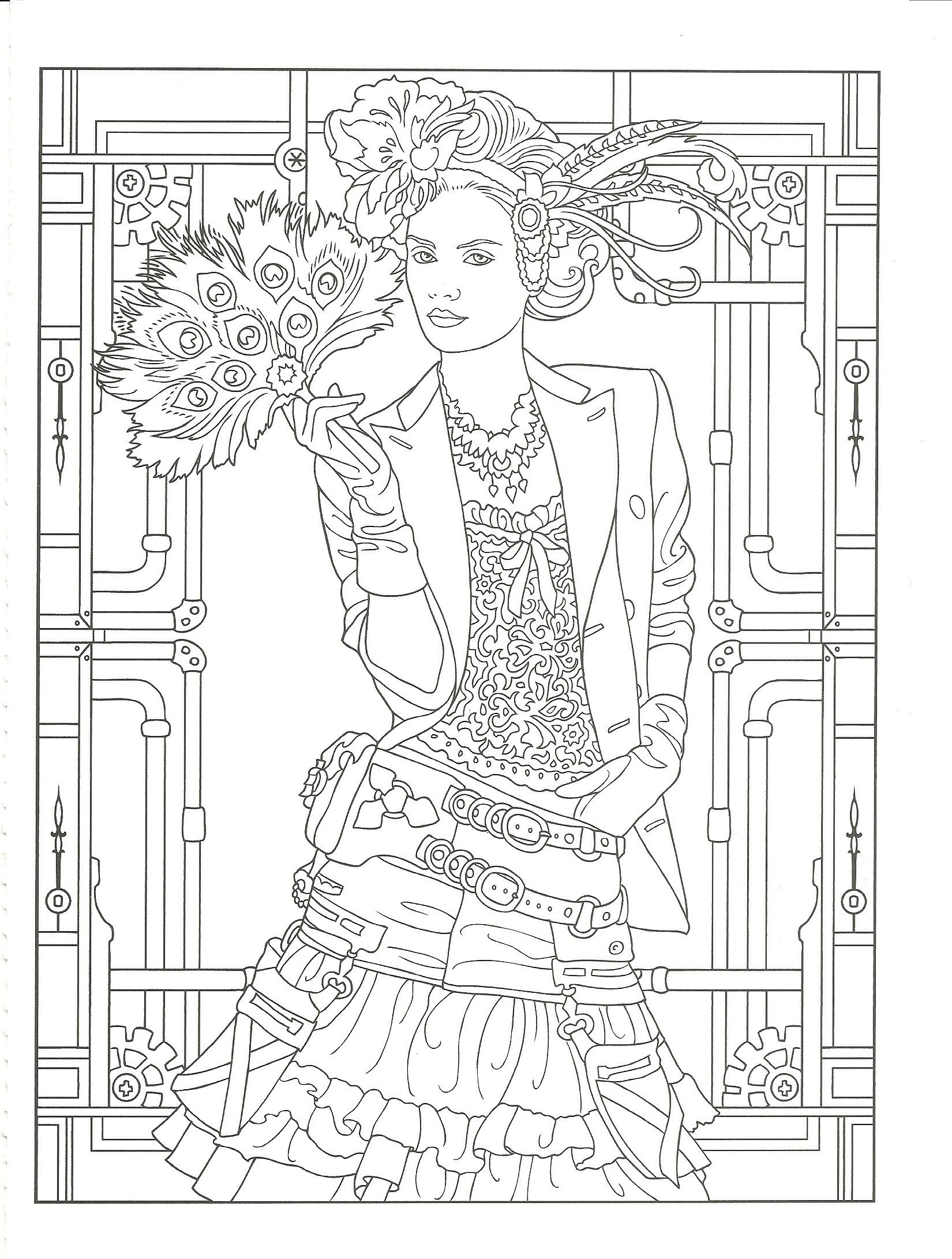 The coloring book e book - Adult Coloring Page From Creative Haven Steampunk Fashions Coloring Book Dover Publications Artwork By
