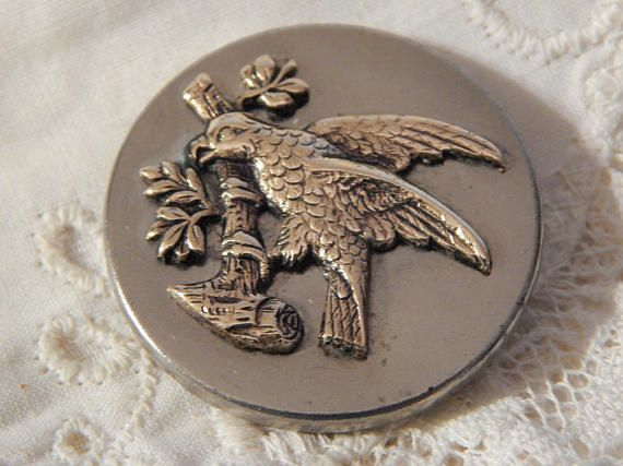 Parrot on a Tree Limb Antique Button (ad)