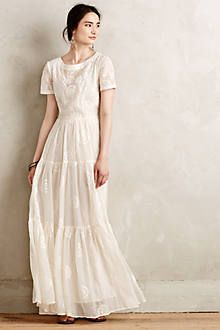 Embroidered Lera Maxi Dress for Mom to wear. Could pair with any of the shoes shown. Style with some delicate earrings as shown since it's a high neckline with embroidery near face.