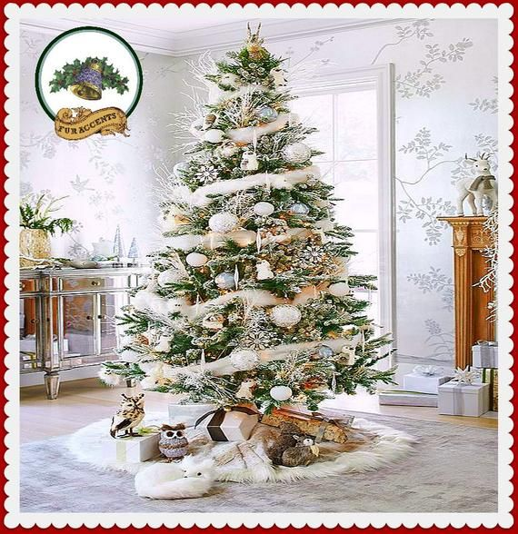 Classic Faux Fur Christmas Tree Skirt - Shaggy Shag Faux Sheepskin Round (Garland Now Available) White and Off White - by Fur Accents - USA -   18 christmas tree themed ideas