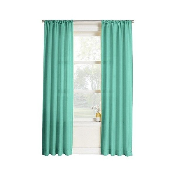 Layne Heathered Solid Curtain Panel 4040 Liked On Polyvore Unique Blue Patterned Curtains