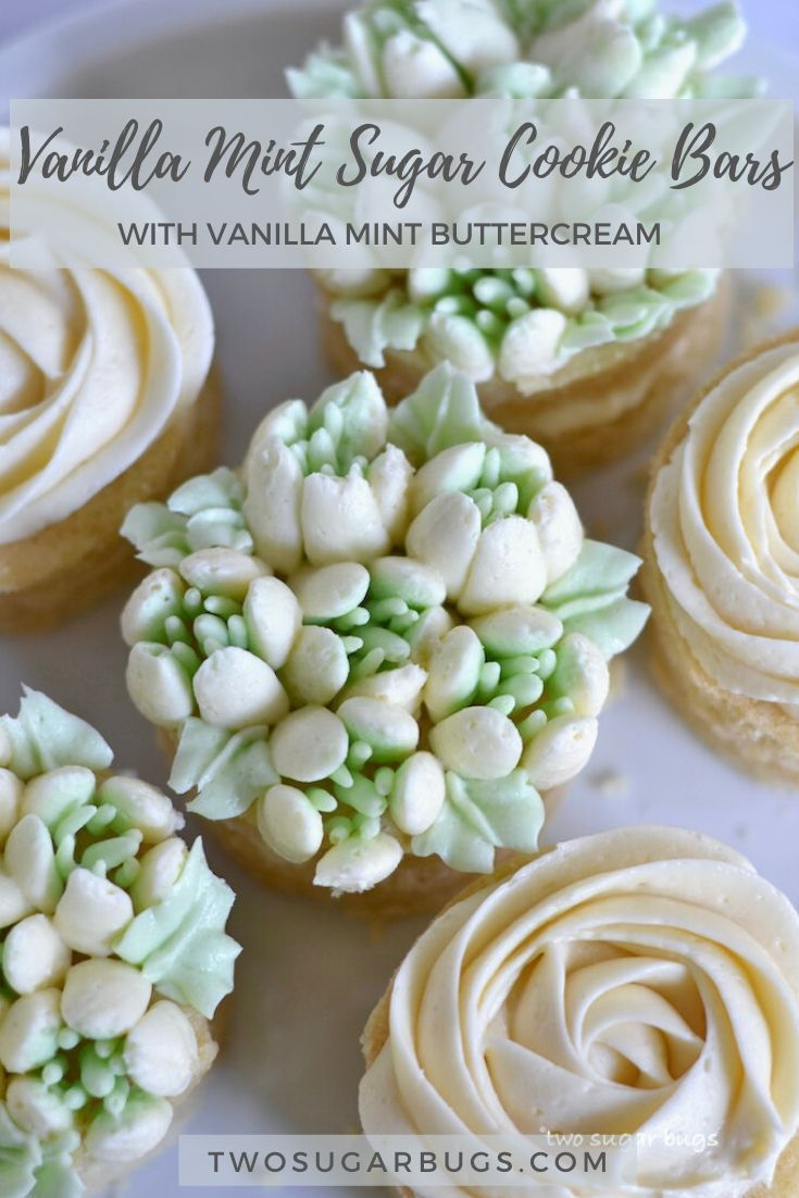 This easy recipe for vanilla mint sugar cookie bars is my spin on a shamrock shake. The sugar cookie bars are decorated with an easy buttercream and make the perfect treat for kids and adults alike! #cookiebars #easyrecipe #sugarcookiebars #easysugarcookies