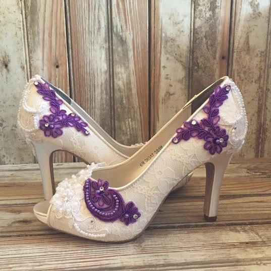 Colored Bridal Shoes Purple Ivory White All By Laboutiquebride