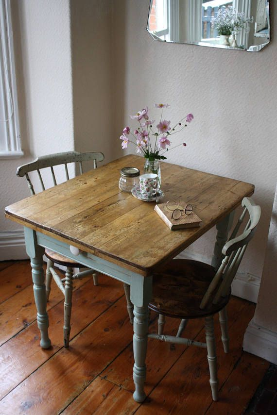 Characterful Rustic Vintage French Kitchen Table With Cutlery Drawer In Pale Pistachio French Kitchen Table Vintage Dining Table Dining Table