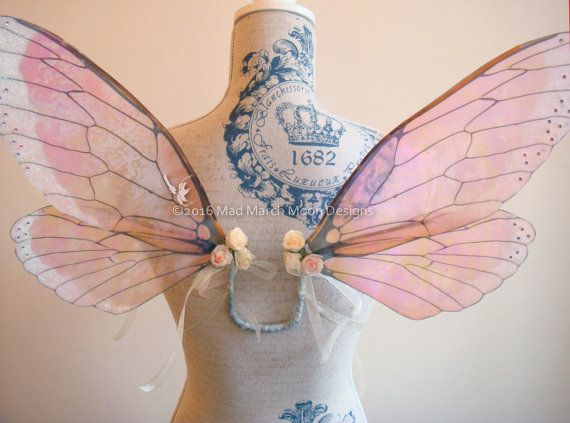 5fae52dc46 Vintage Rose Iridescent Fairy Wings small size by MadMarchMoon