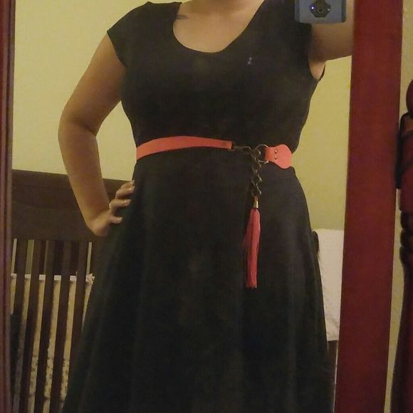 "Vibe black A line dress Knee length dress (i'm 5'3"") Cotton/elastic type blend. Has some stretch to it. Super cute with waist belt for added contour. No tags but never worn. Happy to include the pink belt if desired. Vibe Dresses Midi"