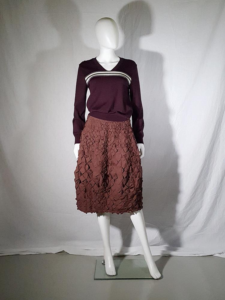f3c22aa42b Issey Miyake brown skirt with origami flowers | Issey Miyake ...