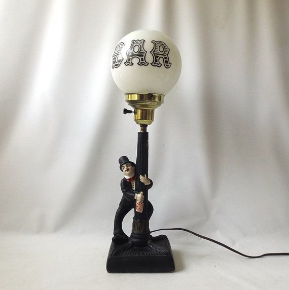 Vintage 1950's Drunk Leaning On A Lamp Post Bar Light