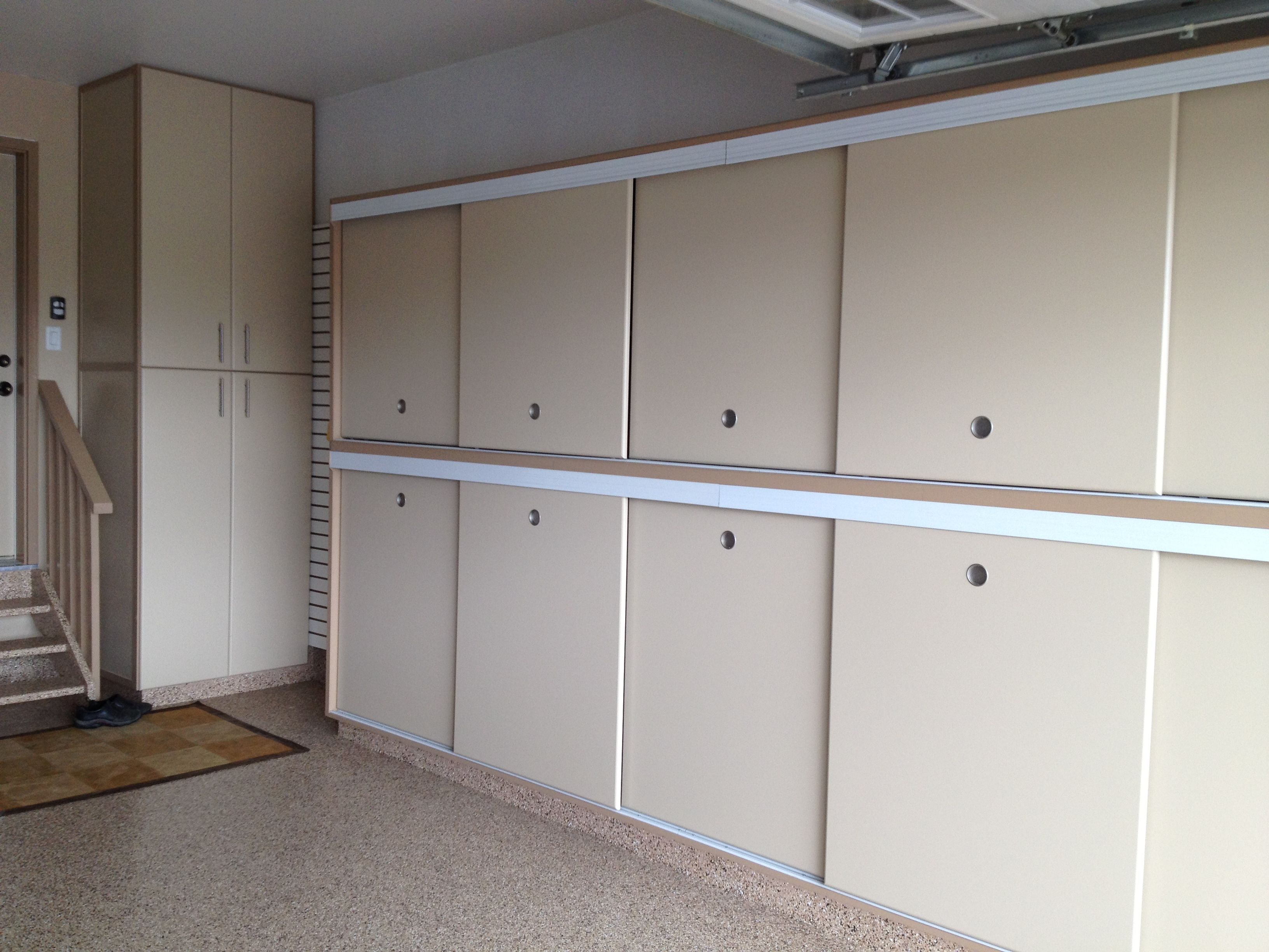 Storage Cabinet Sliding Doors Gerry Garage Slotwall Epoxy Floor Custom Cabinets Sliding