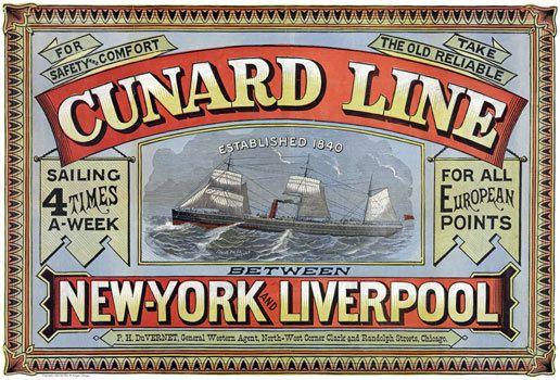 Vintage Cunard Shipping Line Poster  A3//A2 Print