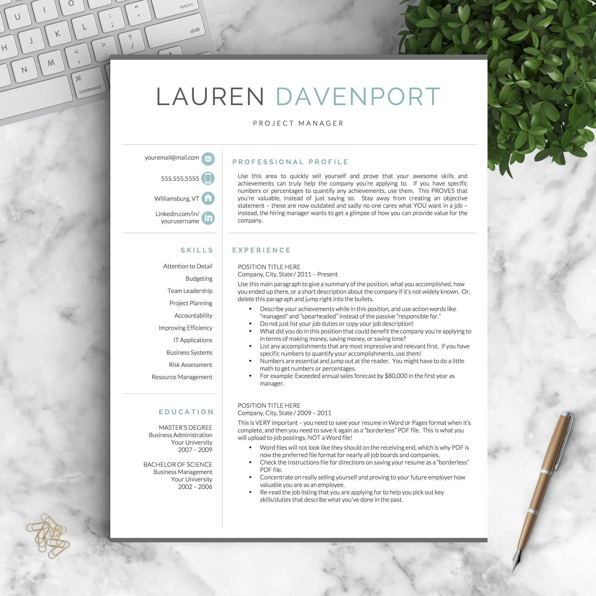 Stand Out With This Modern Resume Template For Word U0026 Pages: The Davenport  U2022 1, 2 And 3 Page Resume Templates, Cover Letter, References, Social Media  Icons, ...