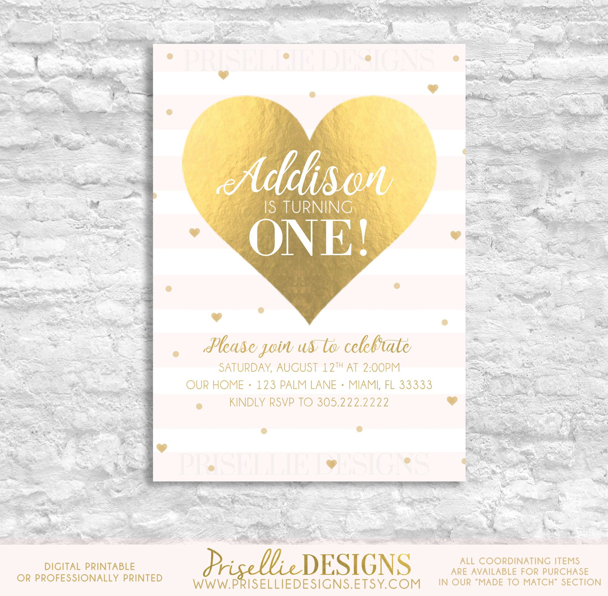 A personal favorite from my etsy shop httpsetsylisting first birthday invitation girl birthday invitation pink and gold first birthday invitation blush pink heart birthday invitation filmwisefo Images