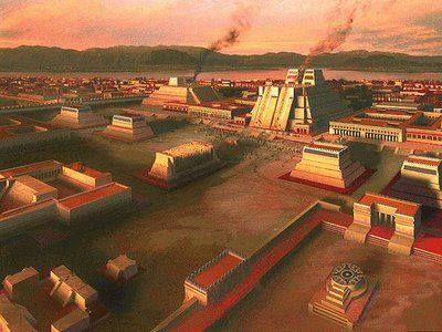 Tenochtitlan, capital of the Aztec Triple Alliance. One of the most advanced cities in the world, it was built upon lake Texcoco. Outside the ceremonial downtown were vast markets and neighborhoods of houses navigated by water channels. It had a population of up to a million people and, unlike European cities, was pristine and hygienic. This blessing would prove a curse as Eurasian disease destroyed the Aztecs. Approx 1500 AD. Artist unknown.