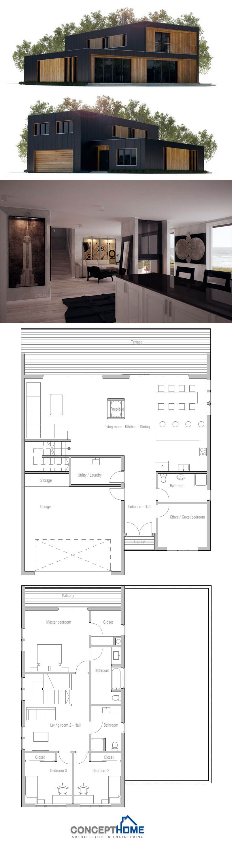 Plan de maison en bois et bardage fonc au look r solument for Plan contemporain