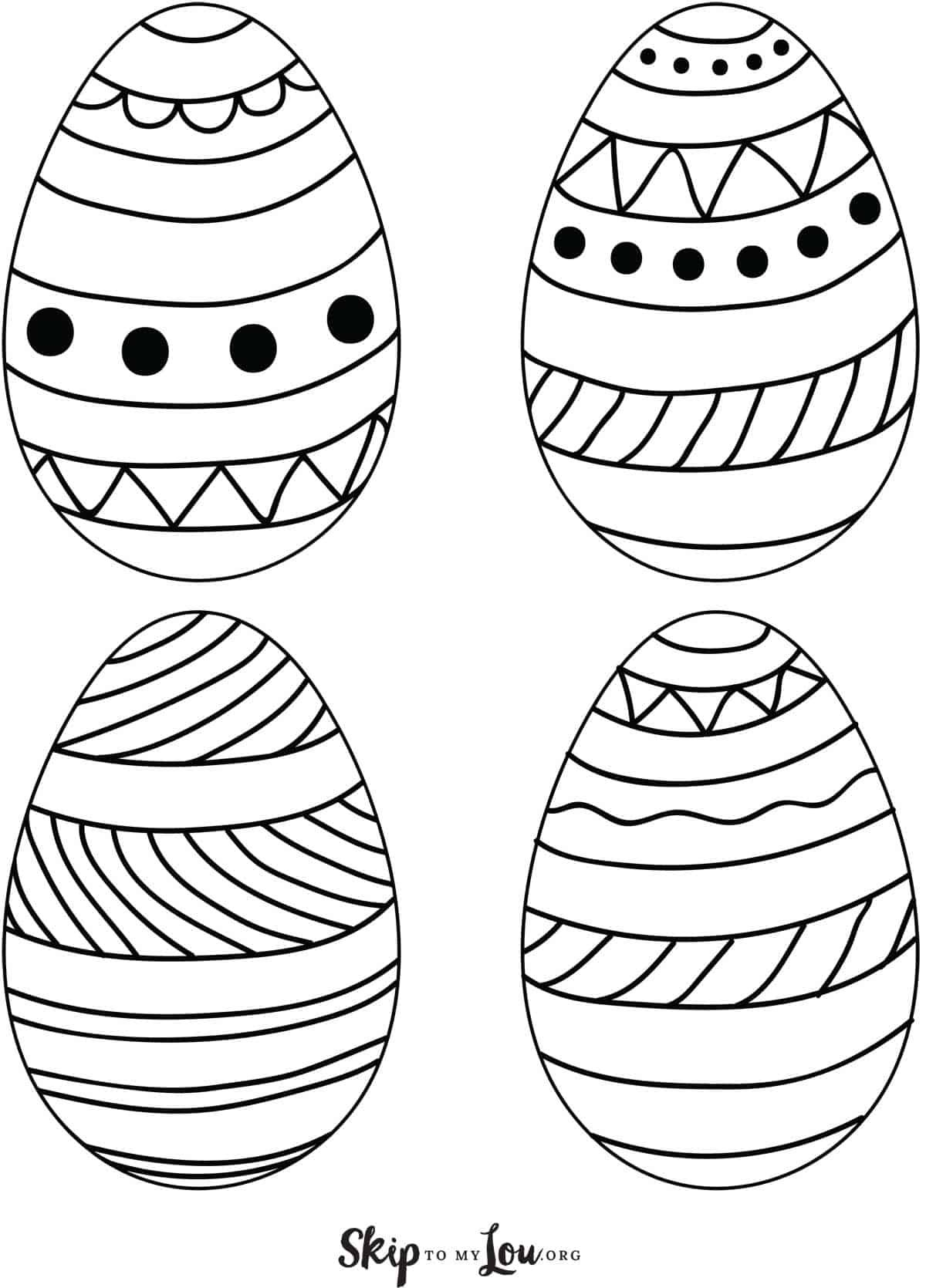 Printable Easter Eggs 4 On Page In