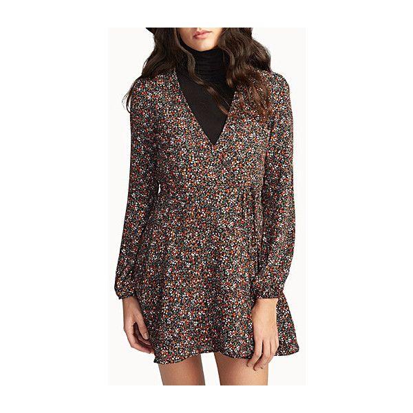 Icône Wildflower wrap dress ($45) ❤ liked on Polyvore featuring dresses, mini dress, vintage wrap dress, long-sleeve mini dress, floral dresses and flower print dress